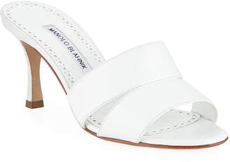 Manolo Blahnik Iacopo Calf Leather Slide Sandals