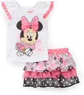 Children's Apparel Network Minnie Mouse Angel-Sleeve Top & Ruffle Skort - Toddler
