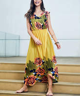 Reborn Collection Women's Casual Dresses Yellow - Yellow & Peach Floral Sleeveless Tulip Hem Midi Dress - Plus