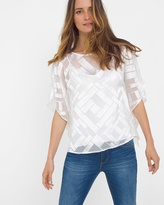 White House Black Market Geo-Print Burnout Kimono-Sleeve Top