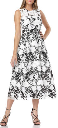 Carmen Marc Valvo Sleeveless Embroidered Lace Fit-&-Flare Midi Dress
