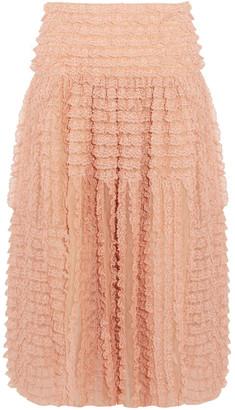Chloé Ruffled Lace-appliqued Silk-organza Midi Skirt