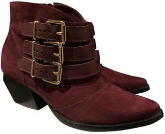 Non SignA / Unsigned Burgundy Suede Ankle boots