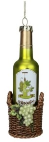 """Northlight 6.25"""" Green Wine Bottle in Basket with Grapes Glass Christmas Ornament"""