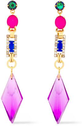 Elizabeth Cole 24-karat Gold-plated Crystal Earrings