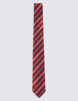M&S Collection Pure Silk Welsh Striped Tie