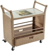 Margaritaville Outdoor Rolling Wicker Bar Cart in Brown
