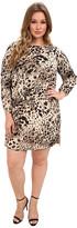 Vince Camuto Plus Plus Size L/S Animal Fresco Center Fold Dress