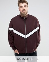 Asos PLUS Oversized Jersey Track Jacket With Cut & Sew