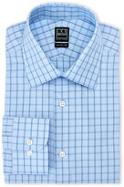 Ike Behar Blue Checkered Regular Fit Dress Shirt