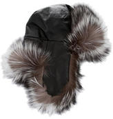 J. Mendel Fox-Trimmed Leather Trapper Hat