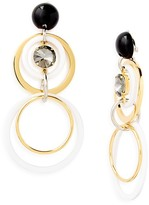 Marni Circles Strass & Acrylic Clip-On Drop Earrings