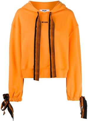 MSGM Tie-Dye Bow Hooded Sweatshirt