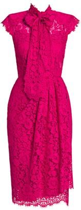 Dolce & Gabbana Cap-Sleeve Tieneck Lace Sheath Dress