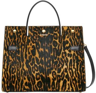 Burberry Medium Title Leopard-Print Calf Hair Satchel