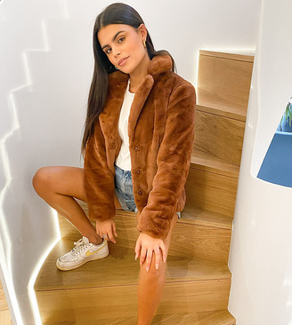 Vila Petite faux-fur coat in brown