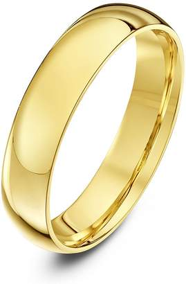 Theia Unisex Heavy Court Shape Polished 18 ct Yellow Gold 4 mm Wedding Ring - Size O