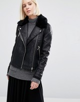 Warehouse Faux Fur Collar Leather Look Jacket