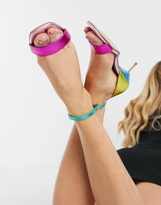 Kurt Geiger Birchin strappy heeled sandals in rainbow leather