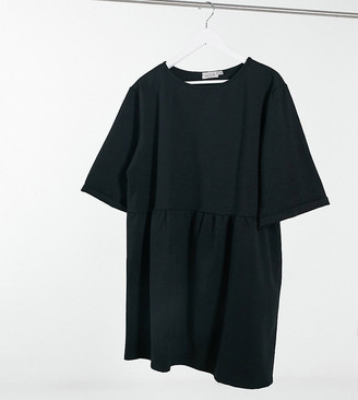 Street Collective Curve mini drop waist sweater mini dress in black