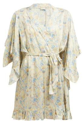 Mes Demoiselles Sally Floral-print Ruffled Satin Kimono-style Robe - Womens - Beige Print