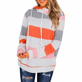 Toamen Women Women Hoodie Toamen Long Sleeve Color Block Stripe Print Hooded Sweatshirt