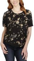 Lucky Brand Womens Printed Short Sleeves Blouse