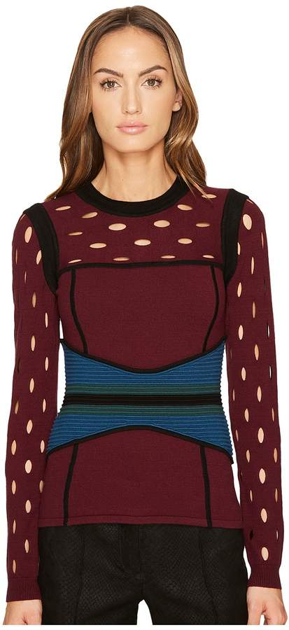 Yigal Azrouel Color Block Pointelle Stitch Bustier Top