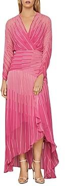 BCBGMAXAZRIA Sunburst High/Low Chiffon Dress