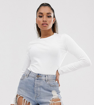 ASOS DESIGN Petite ultimate organic cotton long sleeve crew neck t-shirt in white