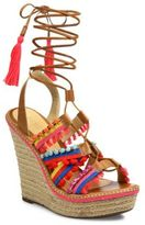 Schutz Mella Jeweled Leather Lace-Up Espadrille Wedge Sandals