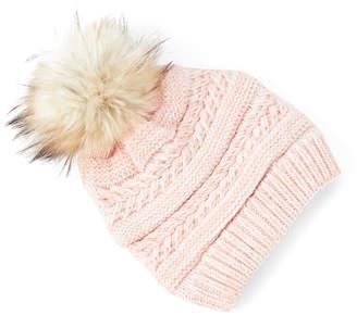David & Young Women's Beanies Light - Light Pink Braid-Knit Pom-Pom Beanie - Women