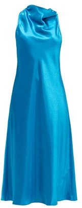 Sies Marjan Andy Cowl-neck Satin Midi Dress - Blue