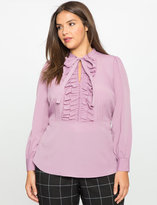 ELOQUII Plus Size Tie Neck Ruffle Detail Blouse