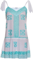 Juliet Dunn Embroidered self-tie cotton dress