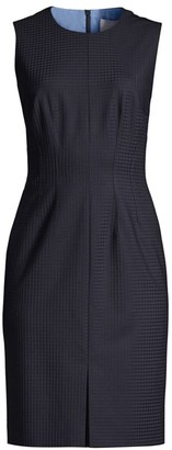 BOSS Dasuria Stretch Wool-Blend Shadowcheck Sleeveless Suiting Dress