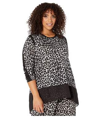 MICHAEL Michael Kors Plus Size Mega Cheetah Woven Top (Gunmetal) Women's Clothing