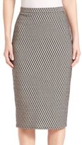 Max Mara Fitted Houndstooth Pattern Skirt
