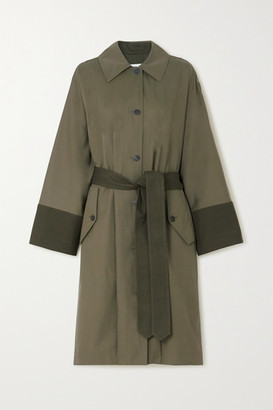 Loewe Belted Two-tone Cotton-gabardine And Canvas Trench Coat - Green