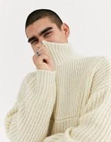Asos DESIGN oversized chunky rib half zip jumper in off white