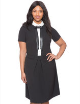 ELOQUII Plus Size Studio Bow Detail Shirt Dress