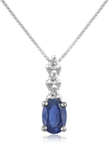 Tagliamonte Incanto Royale Diamond and Sapphire Drop 18K Gold Pendant Necklace