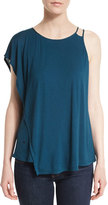 Halston Asymmetric Draped Top, Deep Sea
