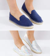 Asos Jeanie Wide Fit Two Pack Espadrilles