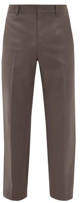 Deveaux Tailored Satin-back Sharkskin Suit Trousers - Mens - Grey