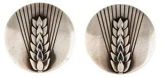 Georg Jensen Deco Pattern Stud Earrings