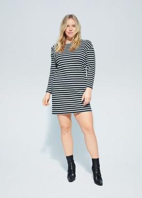 MANGO Violeta BY Buttoned stripped dress dark navy - 10 - Plus sizes