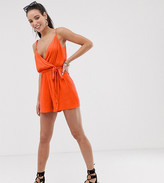 Asos DESIGN Tall cami wrap front crinkle romper