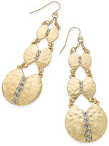 Thalia Sodi Gold-Tone Hammered Disc and Crystal Triple Drop Earrings, Only at Macy's