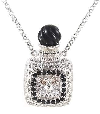 Savvy Cie Sterling Silver Black Onyx & CZ Perfume Bottle Pendant Necklace